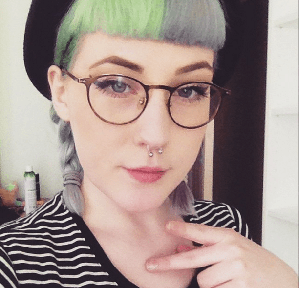 lavender and green hair
