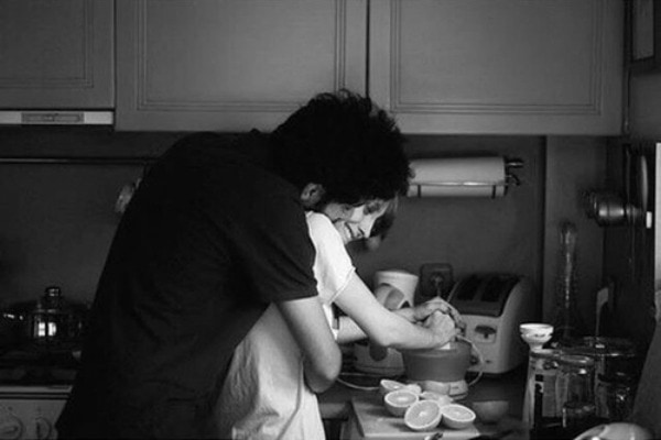annoying kitchen hug