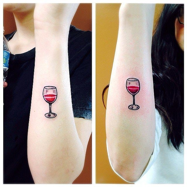 Glass of wine best friends matching tattoo