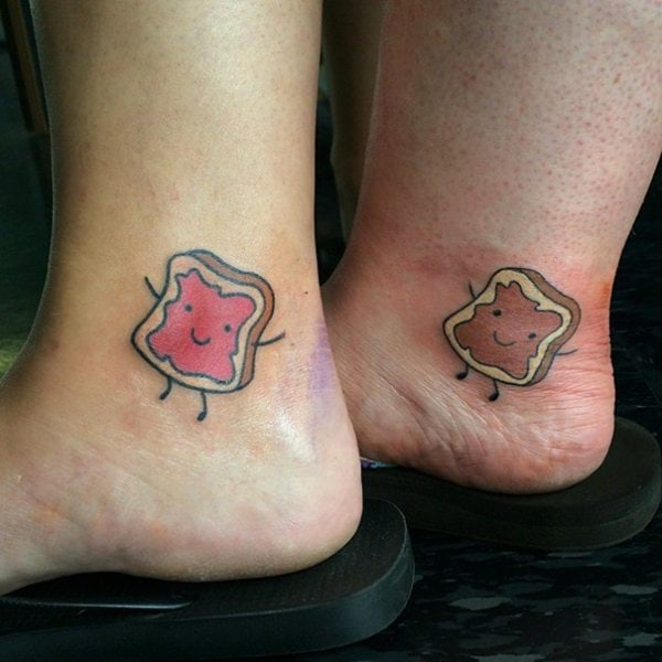 peanut butter and jelly matching best friends tattoo