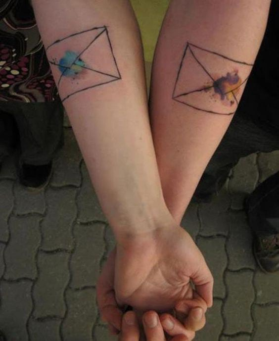 watercolor envelope matching best friends tattoo
