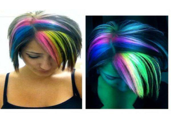 Two shots of woman's rainbow glow-in-the dark hair.