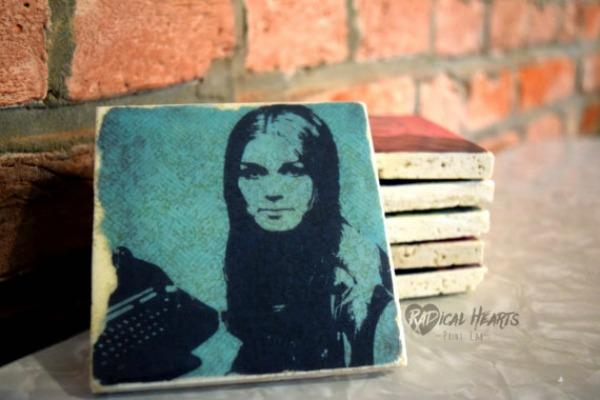 Feminist gifts: Gloria Steinem tile coaster