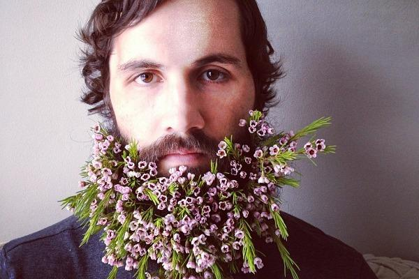 man with flower beard