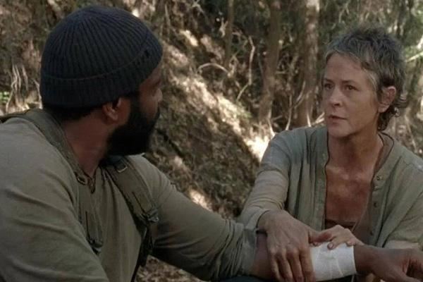 Melissa McBride as Carol Pelletier on The Walking Dead AMC with Chad Coleman as Tyreese