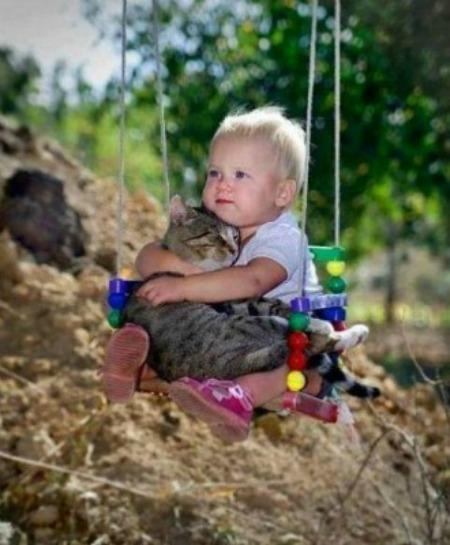 baby hugging cat