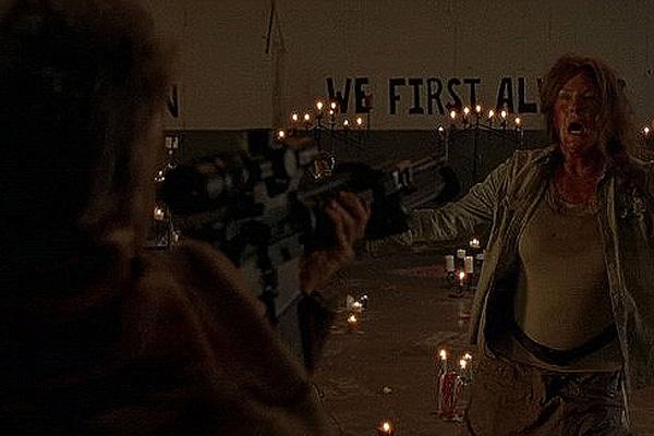 Melissa McBride as Carol Pelletier on The Walking Dead AMC murdering Mary at Terminus in the Season 5 premiere