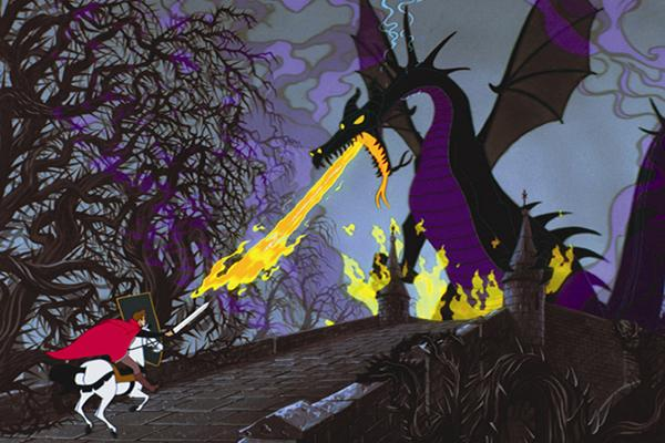 Disney princess love lessons: Men are superior to women Maleficent as a dragon breathing fire at Prince Phillip in Sleeping Beauty