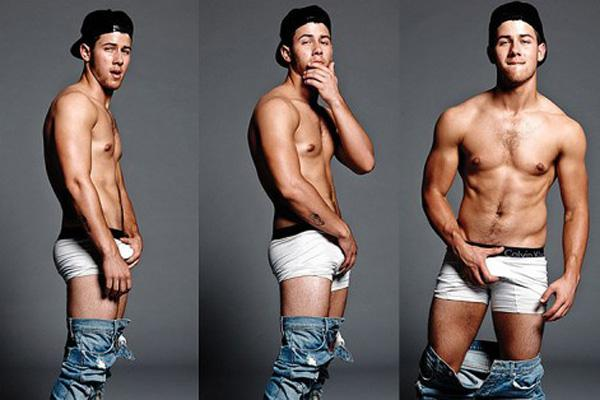 Nick Jonas shirtless naked grabbing crotch losing virginity first time sex flaunt magazine