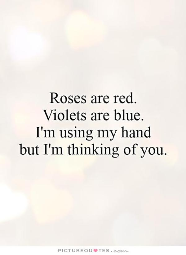 Roses are red, Violets are blue, I'm using my hand but I'm thinking of you.