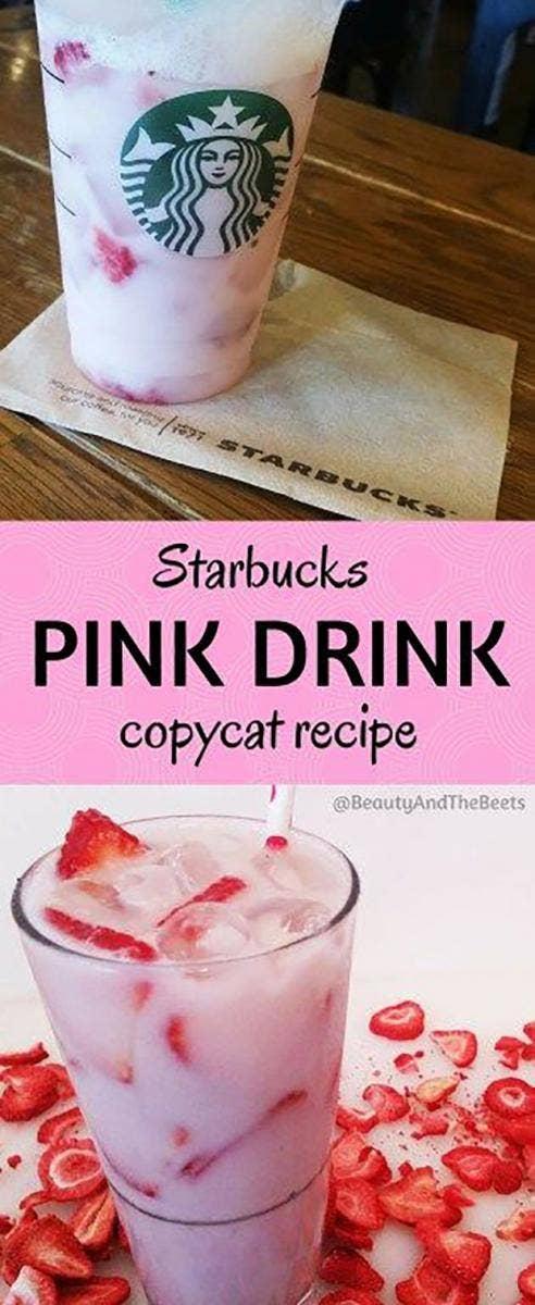 Starbucks Secret Menu drinks DIY pink drink recipes