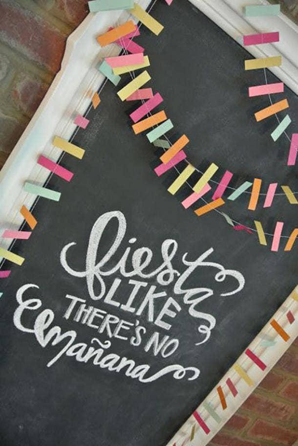 fiesta like theres no manana chalkboard diy cinco de mayo decorations
