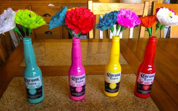 corona bottle flower vases diy cinco de mayo decorations
