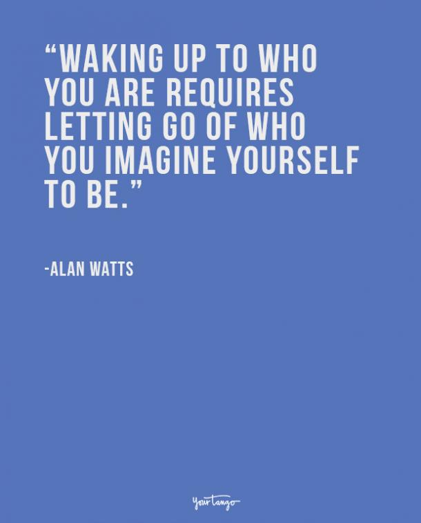 Waking up to who you are requires letting go of who you imagine yourself to be. Alan Watts