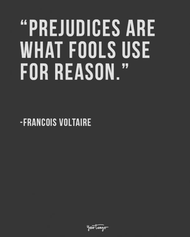 Prejudices are what fools use for reason. Francois Voltaire
