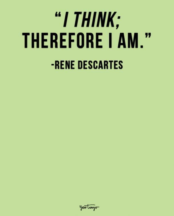 I think; therefore I am. René Descartes
