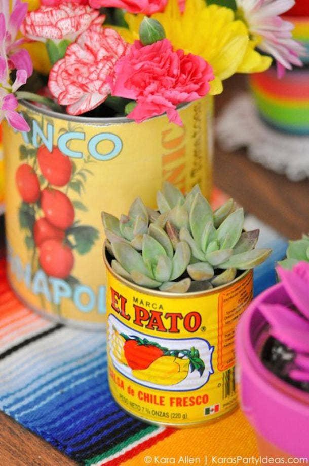 succulent can diy cinco de mayo decorations