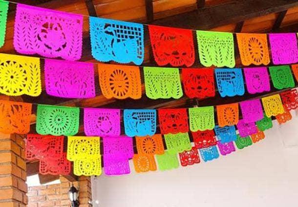 papel picado banner diy cinco de mayo decorations