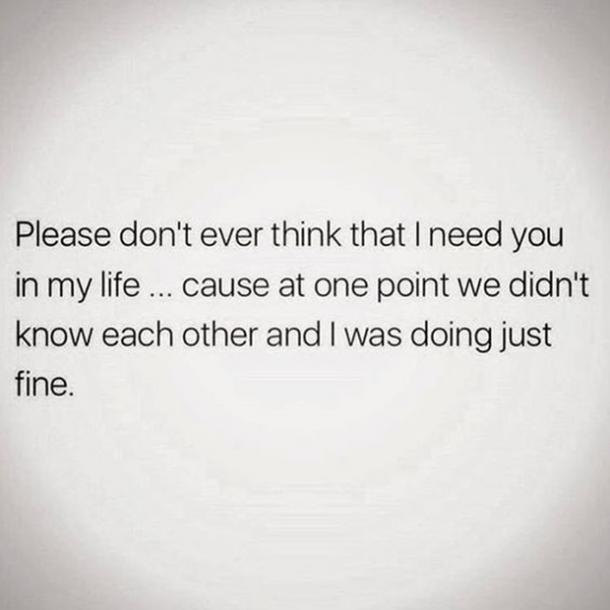 Please don't ever think that I need you in my life cause at one point we didn't know each other and I was doing just fine.