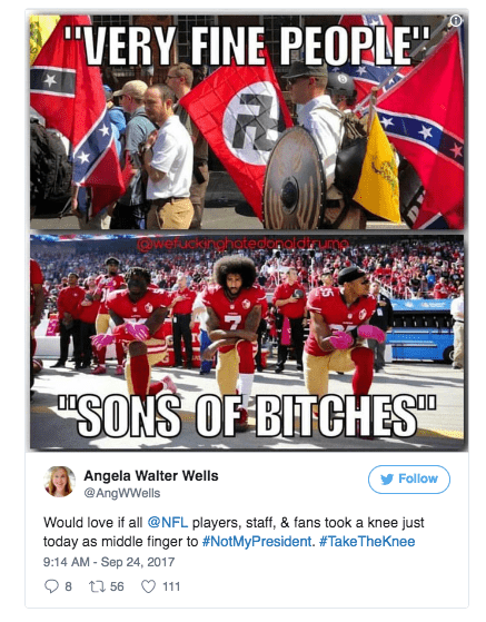 Screen Shot 2017 09 25 at 2.51.02 PM 17 best take a knee tweets and memes about donald trump's nfl