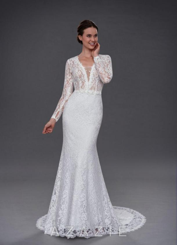 0d2a8c4f9645 Indie is a lovely long-sleeve gown with a sheer lace top and nude bra cups.  This style is classic and modern at the same time, with its deep V-neckline  and ...