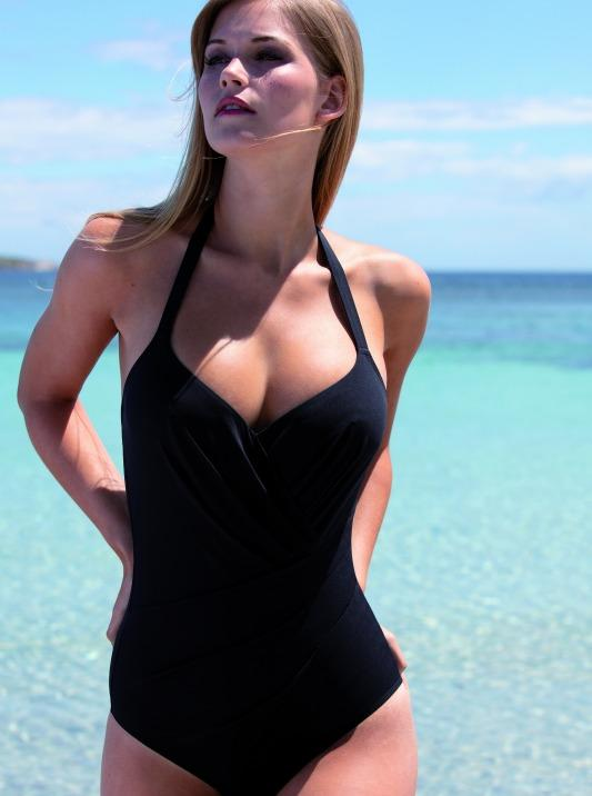 05f0d6ed37dc5 This one-piece is sized for breasts C cup and up, and offers asymmetrical  pleating details across the front. The front lining has fine slimming mesh  for a ...