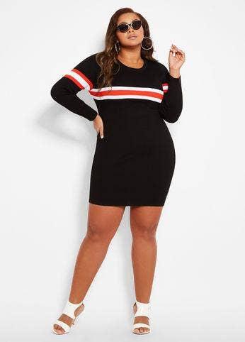 41e5120056d Ashley Stewart Thick Stripe Sweater Dress
