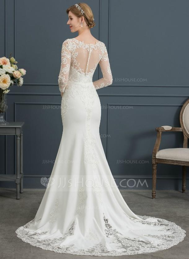 946717630 Trumpet/Mermaid Illusion Chapel Train Stretch Crepe Wedding Dress With Lace