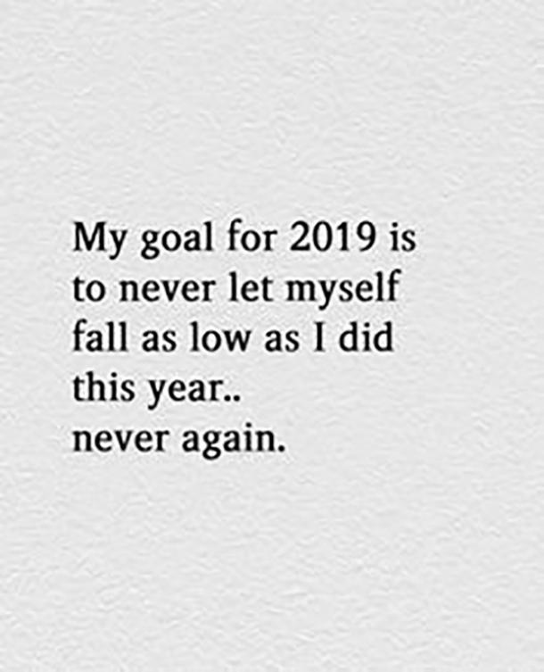 My goal for 2019 is to never let myself fall as low as I did this year ... never again.