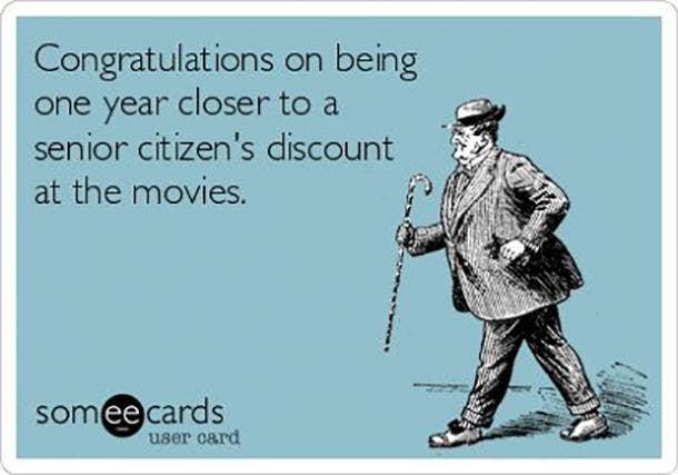 senior citizen discount 30th birthday meme