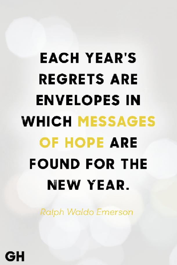 Each year's regrets are envelopes in which messages of hope are found for the new year.