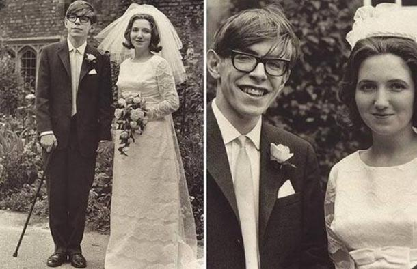 Stephen Hawking and first wife Jane Wilde on wedding day