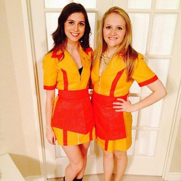 A perfect one for the classic blonde and brunette duo. Dress up like Max  and Caroline from Two Broke ! Personally, I\u0027d make sure to get name tags  and their