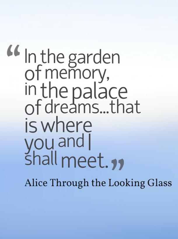 In the garden of memory, in the palace of dreams...that is where you and I shall meet. Alice Through the Looking Glass