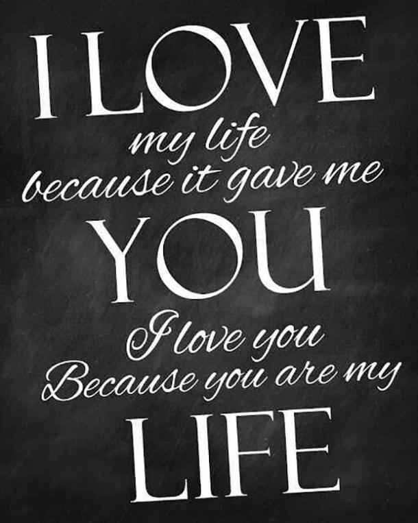 I love my life because it gave me you. I love you because you are my life.