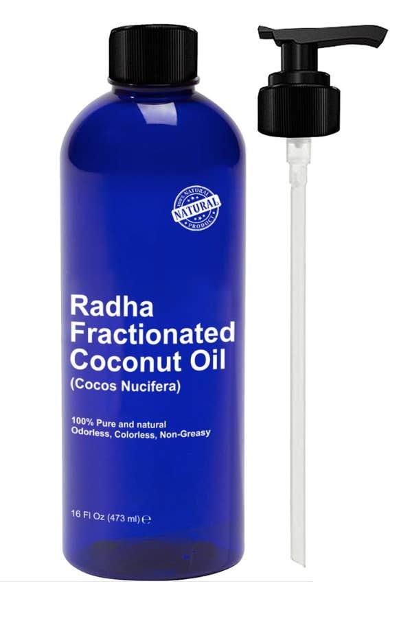 best coconut oil for skin face body hair radha fractionated coconut oil