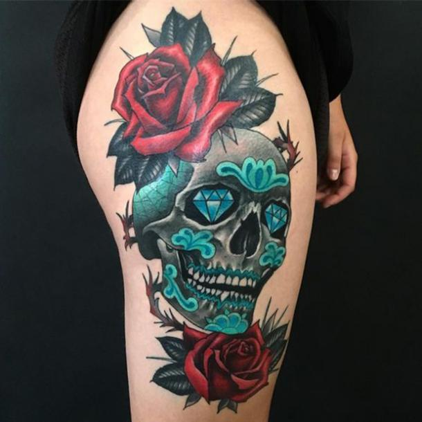 eba4de8c6 While sugar skull tattoos are often colorful, sometimes one featured color  looks nice, too.