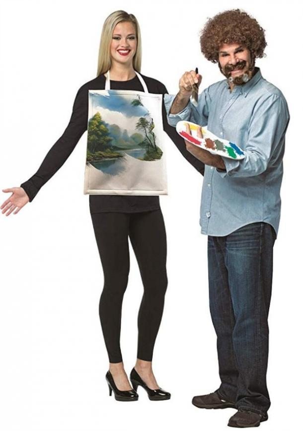 Bob Ross and painting couples costume