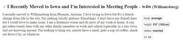Craigslist dating des Moines