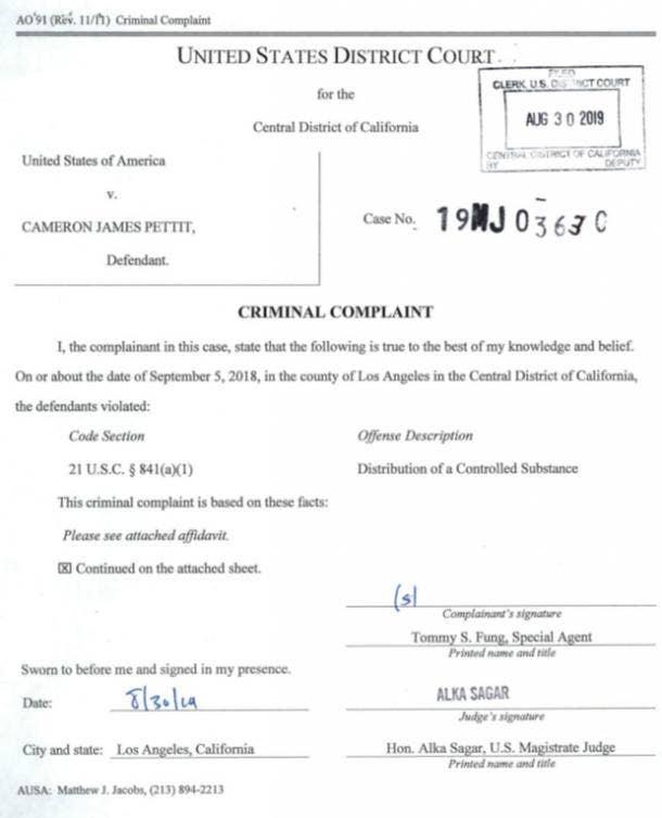screenshot of criminal complaint against Cameron James Pettit