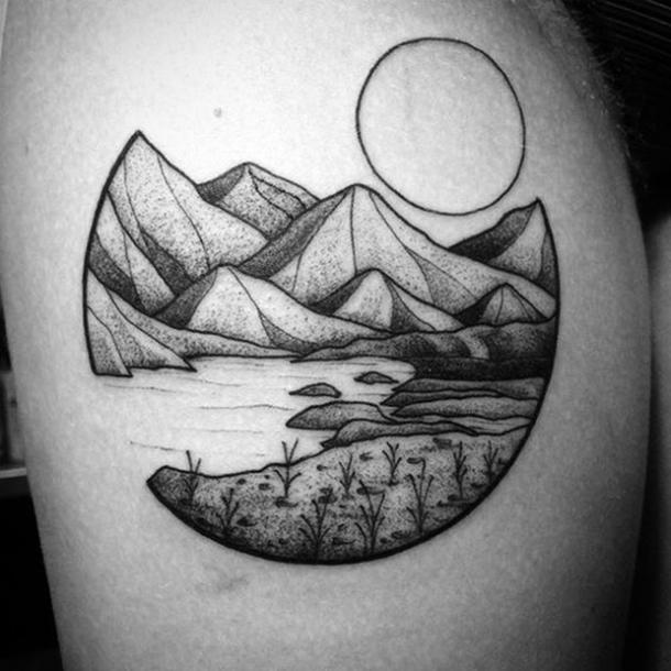 1. Lake and mountain scene under sun
