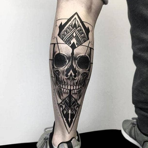 26. Skull on back of leg