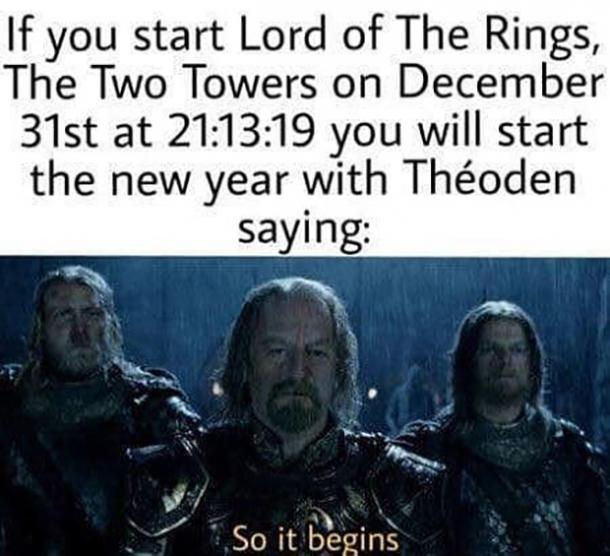 Lord of the Rings funny new year meme