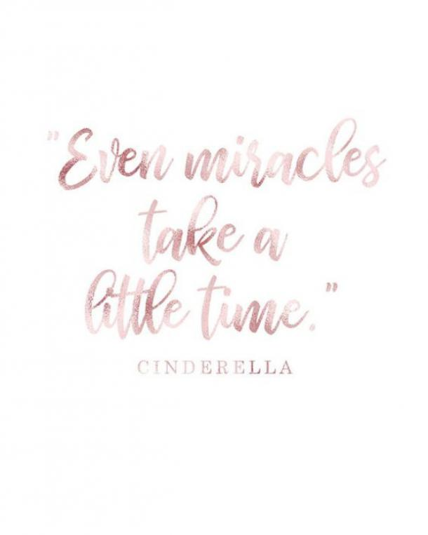 Even miracles take a little time. ​Cinderella