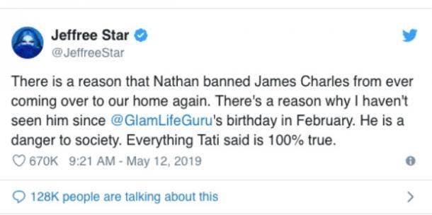 Jeffree Star tweet re James Charles and Tati Westbrook