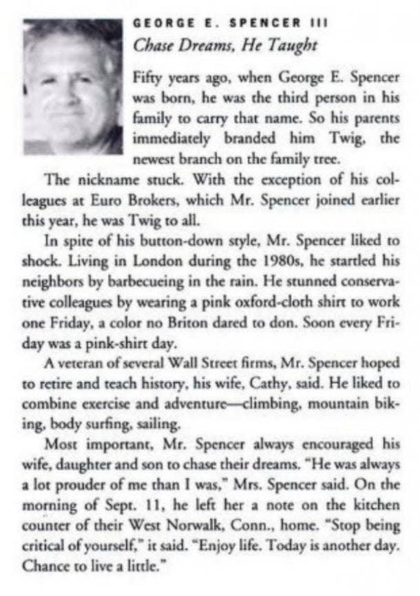 George Spencer obituary