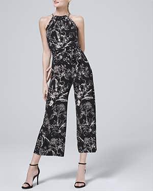White House Black Market Chain Detail Floral Knit Cropped Jumpsuit