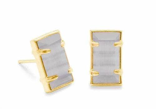 Kendra Scott Paola Gold Stud Earrings In Slate Cats Eye
