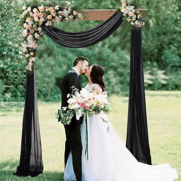 halloween wedding ideas arch drapes
