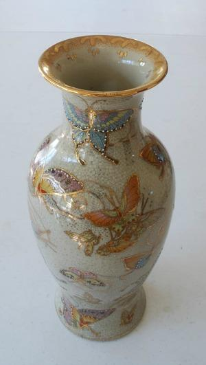 PDKBC Vintage Porcelain Chinese Butterfly Satsuma Vase